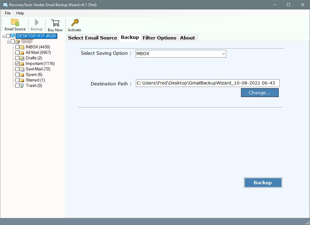 setup yandex to mbox conversion options