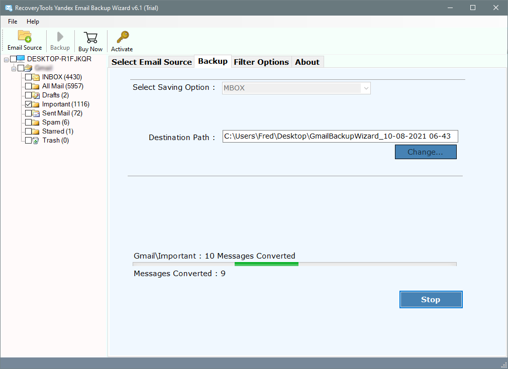 analyze yandex emails to mbox conversion process