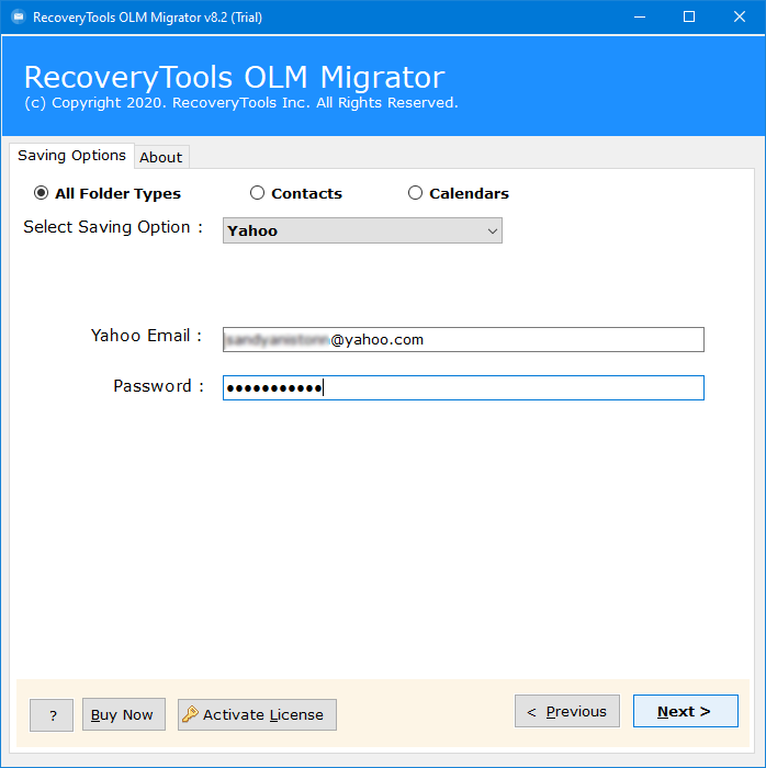 OLM to Yahoo Mail converting tool