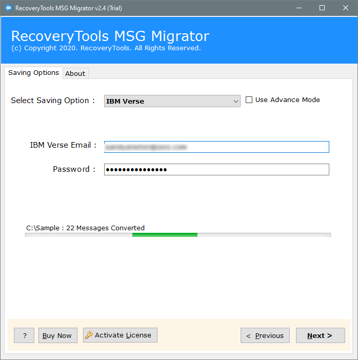 migrate msg files to IBM verse account