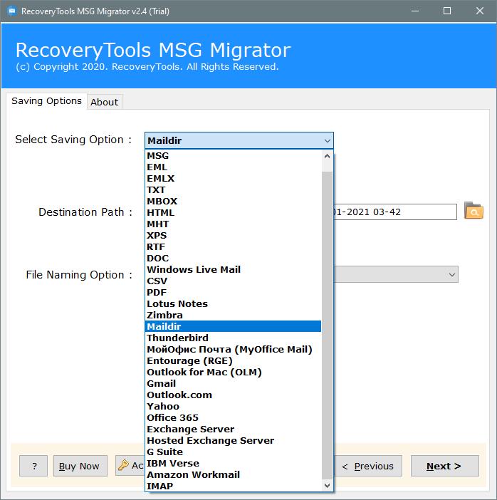 convert MSG to maildir