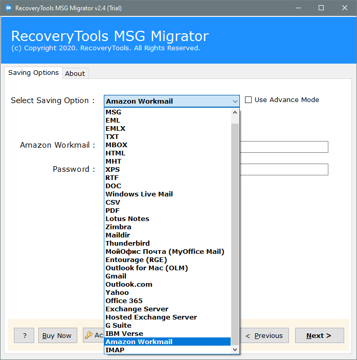 migrate MSG to amazon workmail