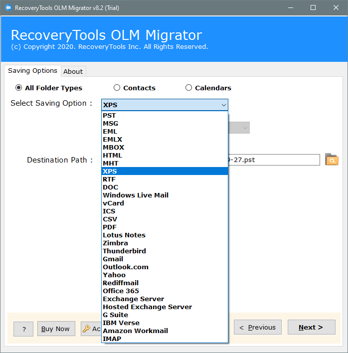 olm to xps converter