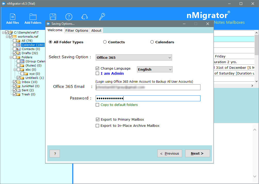 import nsf to office 365