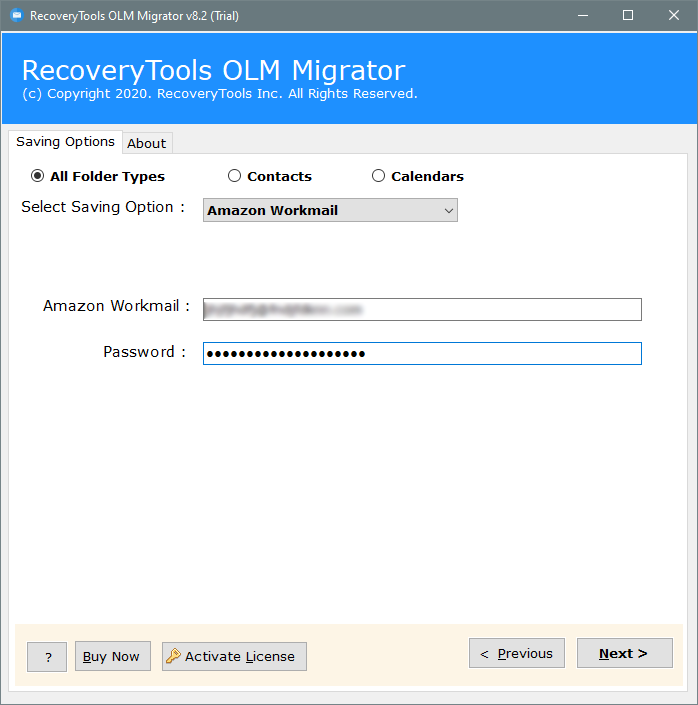 olm file to amazon workmail