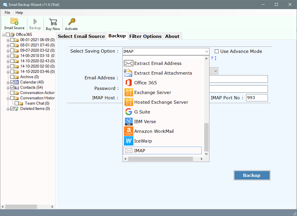 cpanel backup email messages