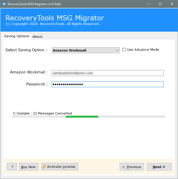 migrate outlook MSG to amazon workmail server