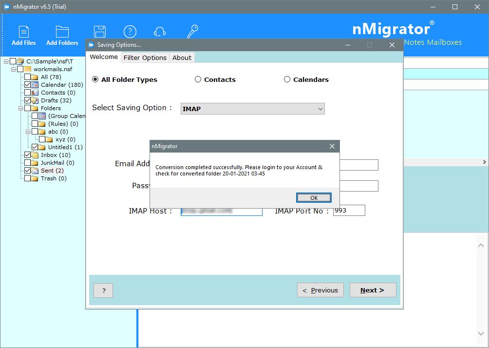 transfer nsf data to imap