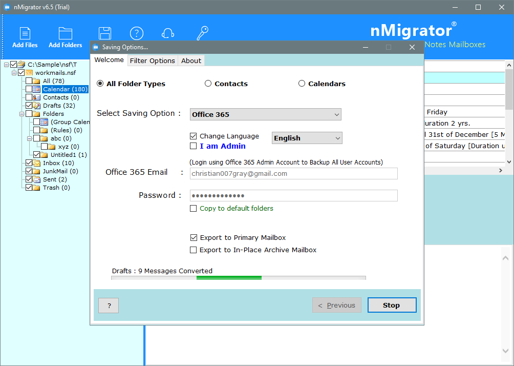 convert nsf to office 365