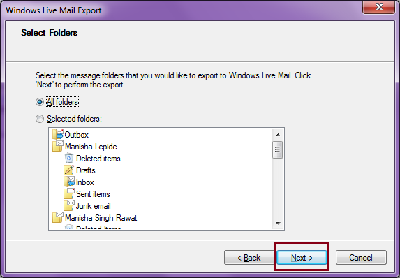 how do i backup my windows live emails to an external hard drive