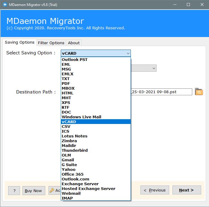 convert mdaemon to vcard file