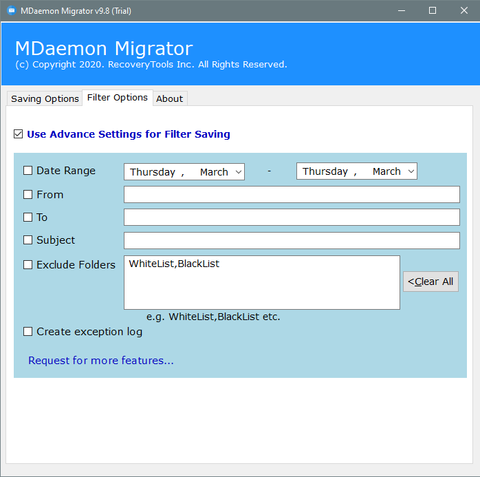 apply filters for mdaemon contacts to vcard file