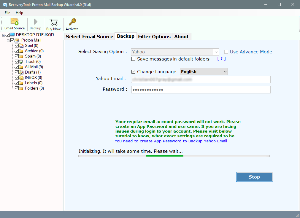 export protonmail emails to yahoo