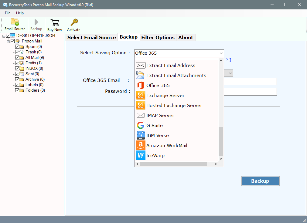 Migrate protonmail to office 365