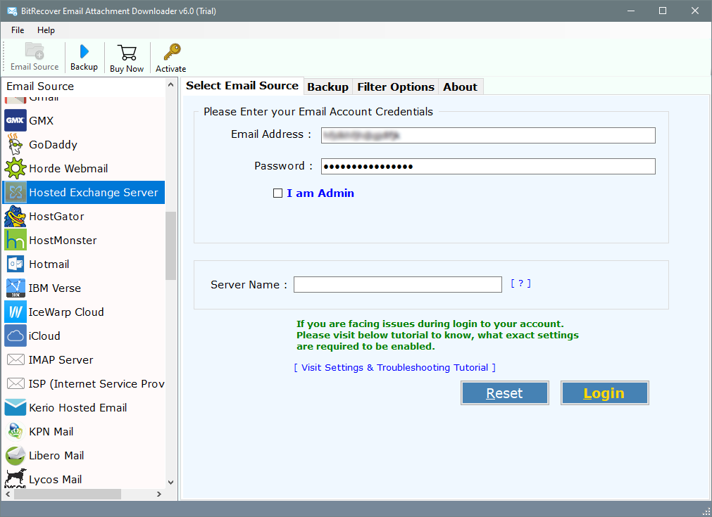 hosted exchange server email attachment downloader