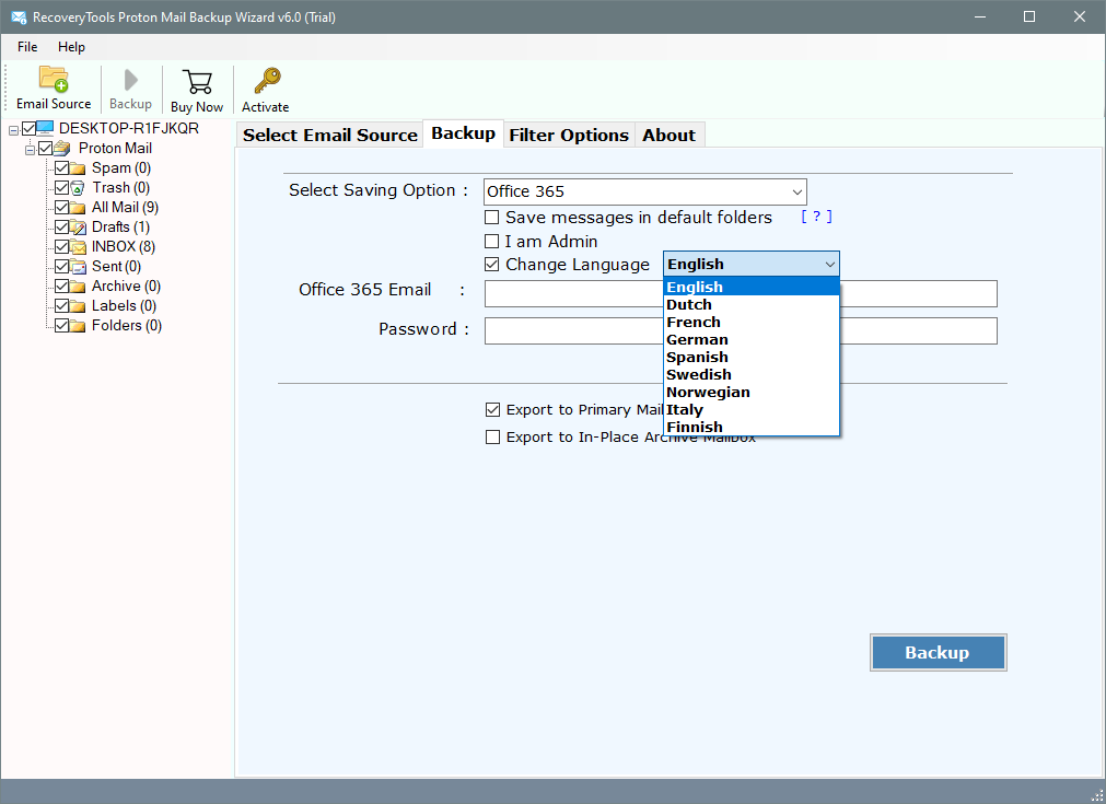 protonmail to office 365 migration
