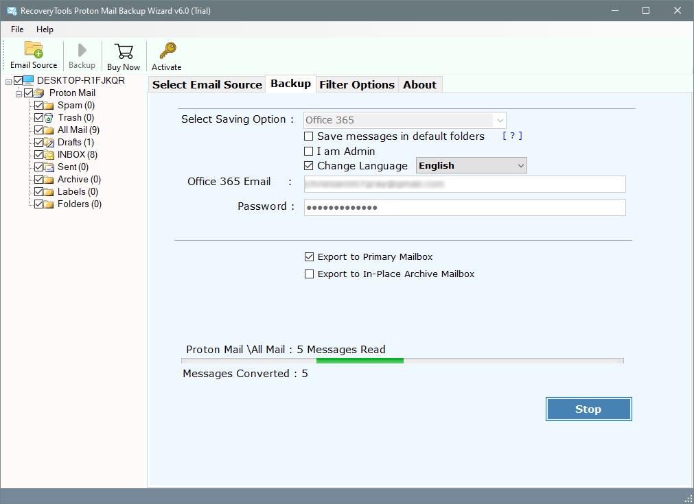 protonmail to o365 tool