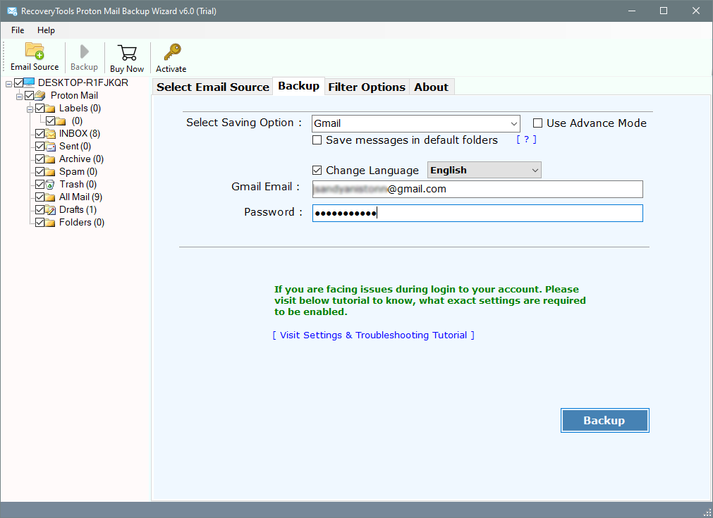 migrate protonmail emails to gmail