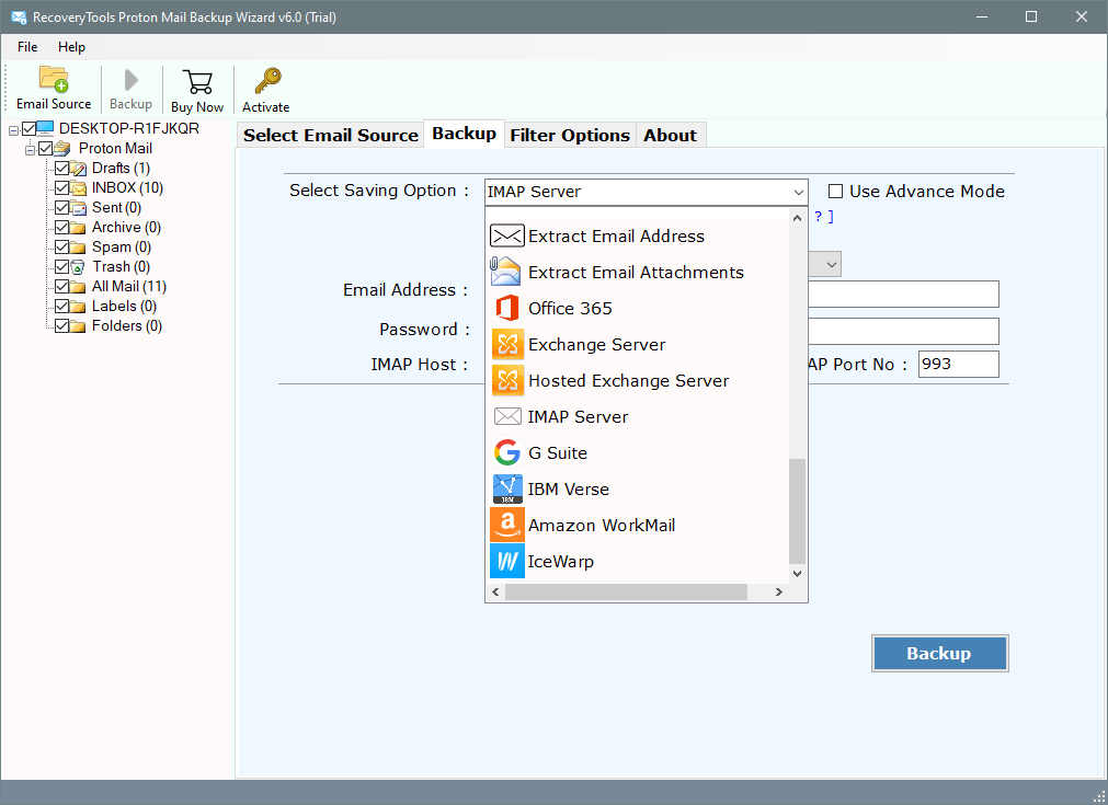 migrate protonmail to amazon workmail