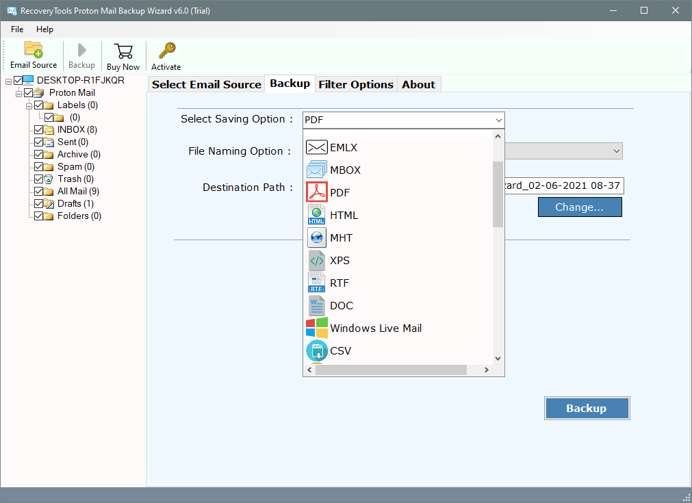 export protonmail to pdf