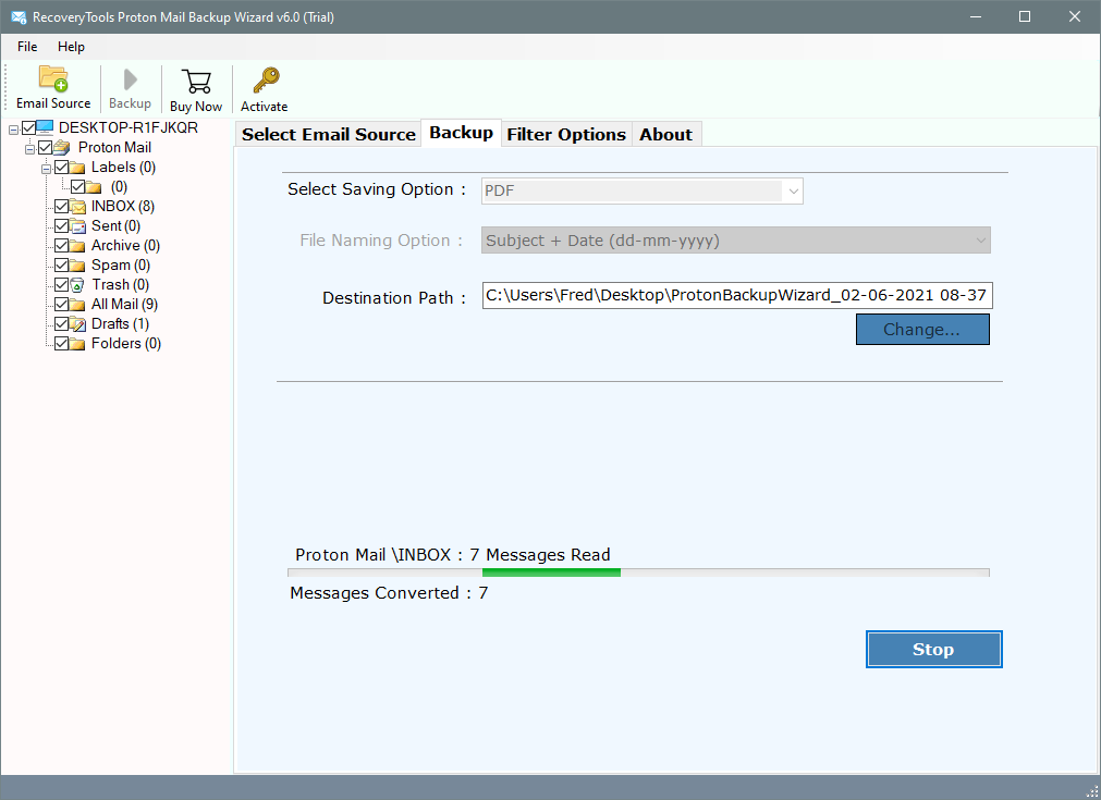 migrate protonmail data to pdf file