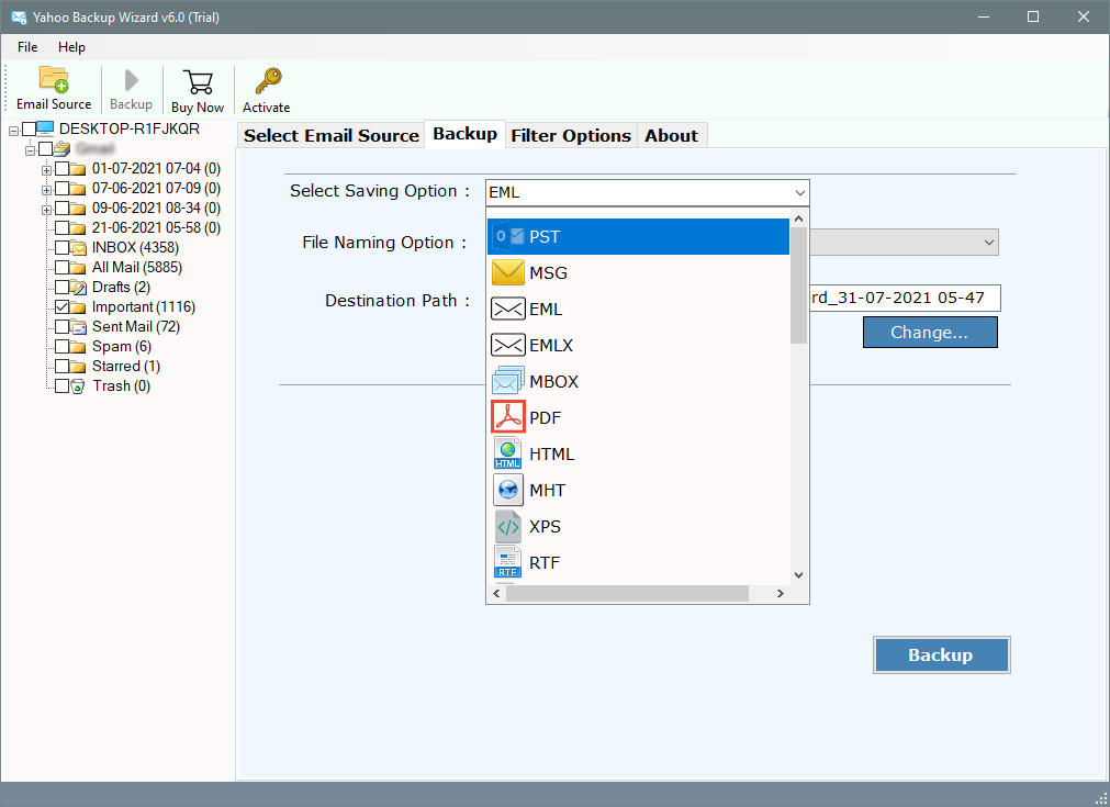 how to save yahoo email as .eml