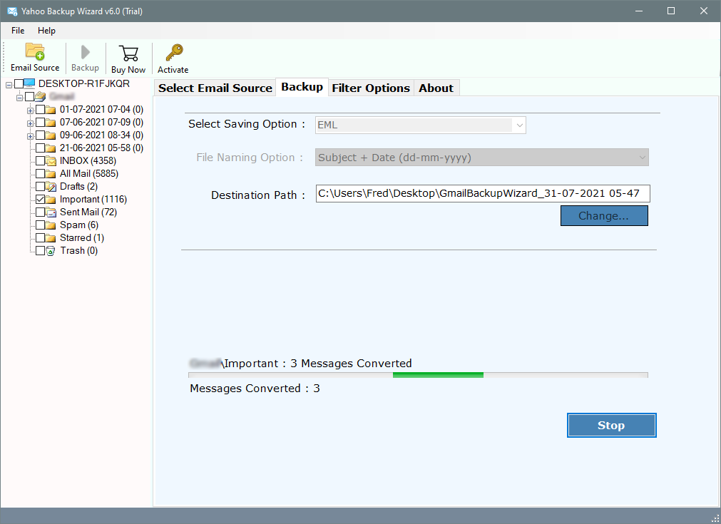 yahoo mail export to eml