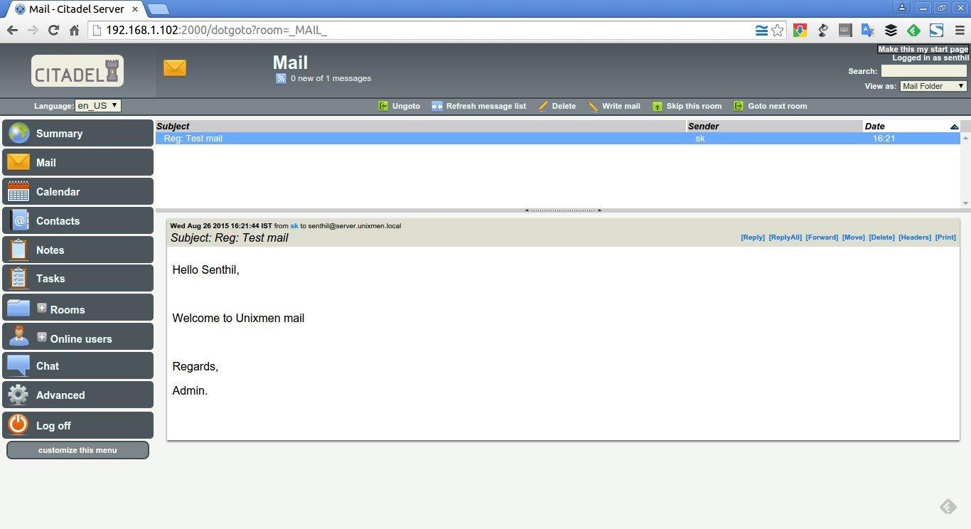 citadel mail server