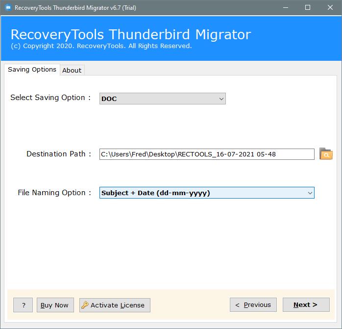 thunderbird to docx file