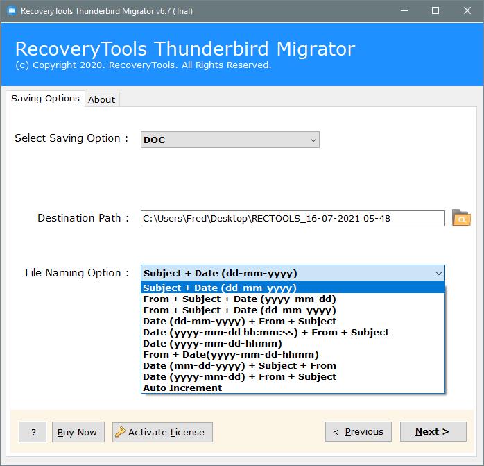 thunderbird to doc file