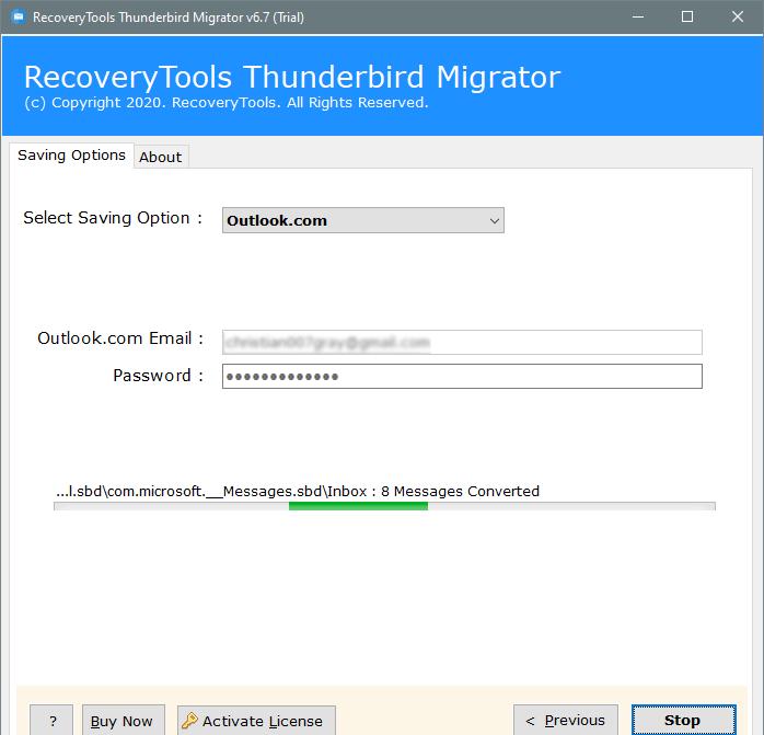 analyze thunderbird to outlook.com migration