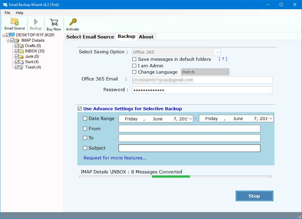 inmotion webmail to outlook pst