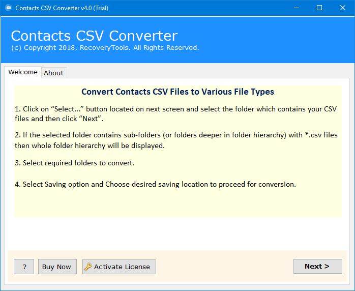 import csv contacts to vCard / vcf file
