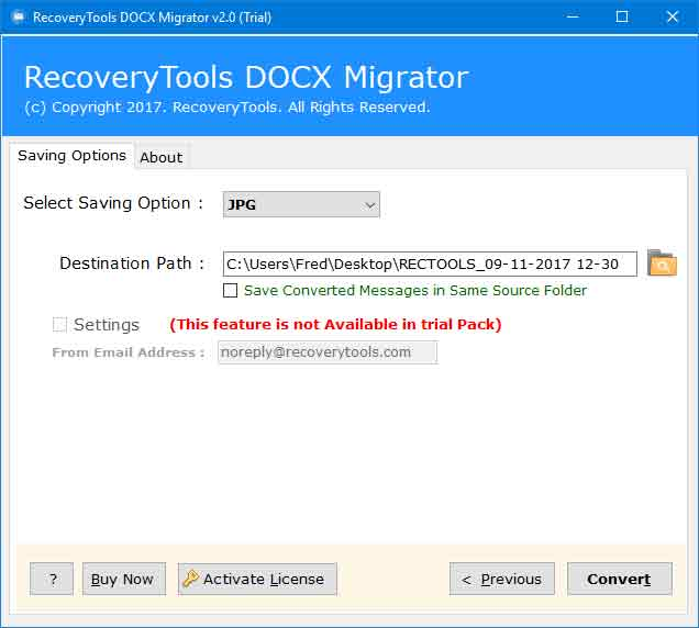 RecoveryTools DOCX to Image Converter