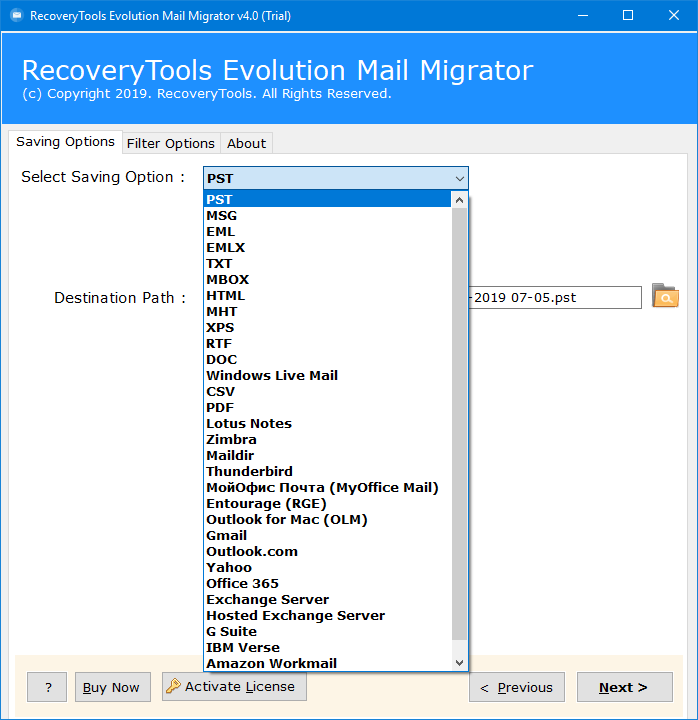 evolution export to pst