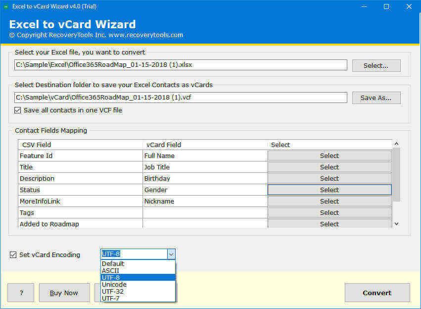 Select encoding format