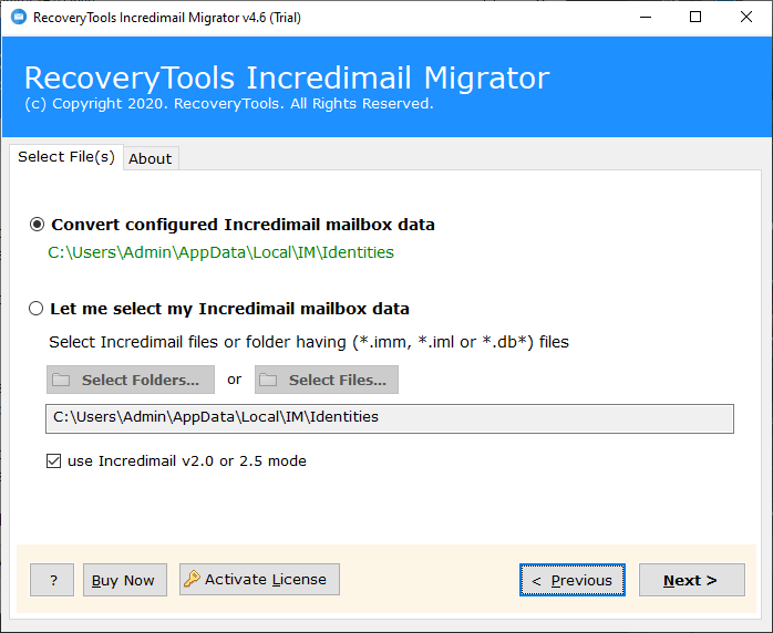 add data of incredimail folders and files