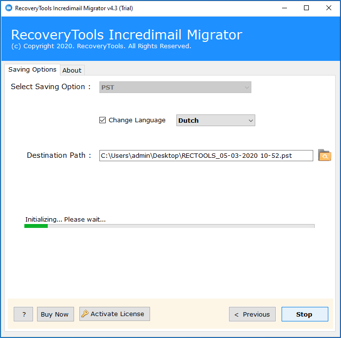 start to transfer all incredimail folders and files