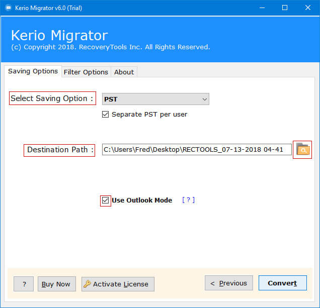kerio connect to pst