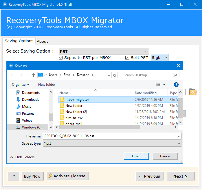 RecoveryTools MBOX to PST Converter