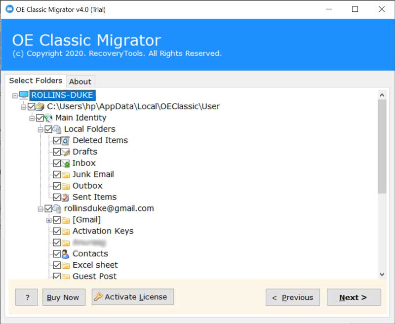 select folders to export OE Classic to Yahoo