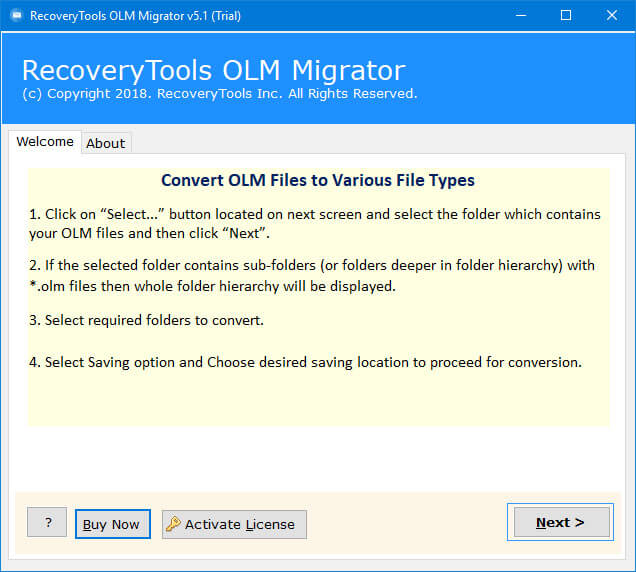 OLM to Exchange Migration Tool - Import Outlook for Mac to