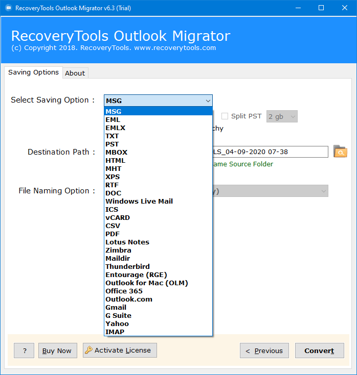 convert old outlook pst file to 2016