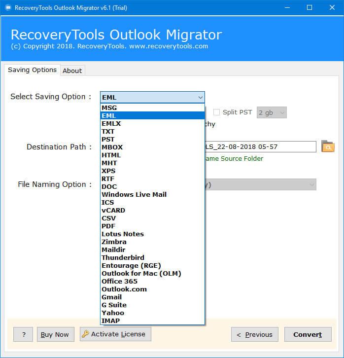 choose outlook backup options