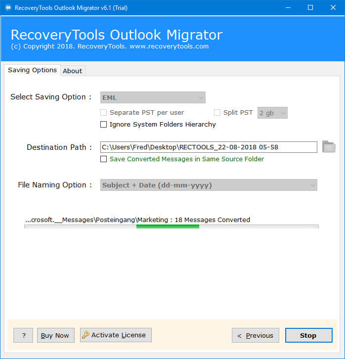 live conversion outlook backup process