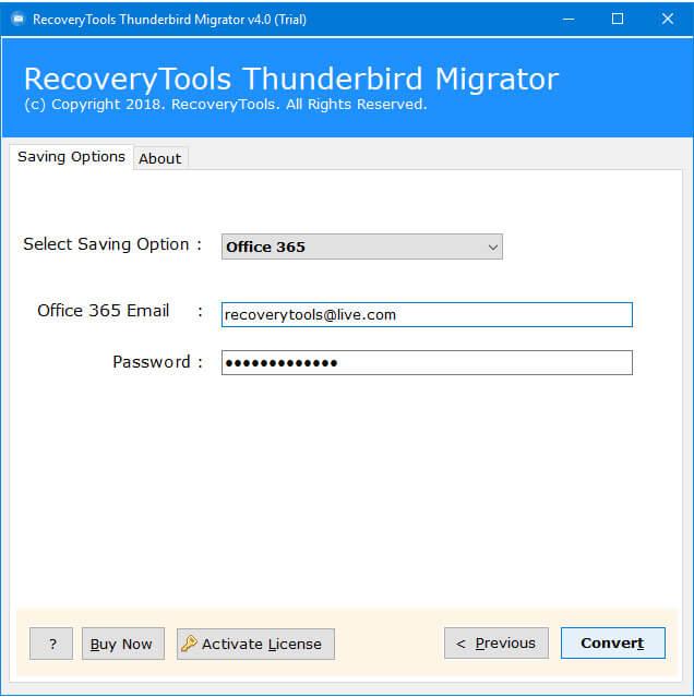Thunderbird to office 365 migration