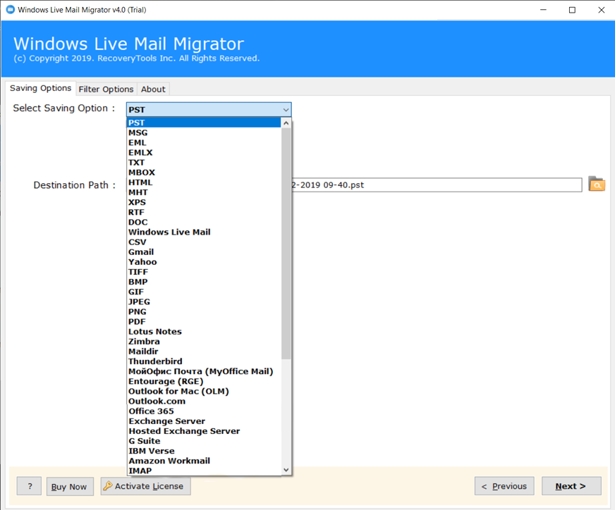 saving option to recover crashed windows live mail emails