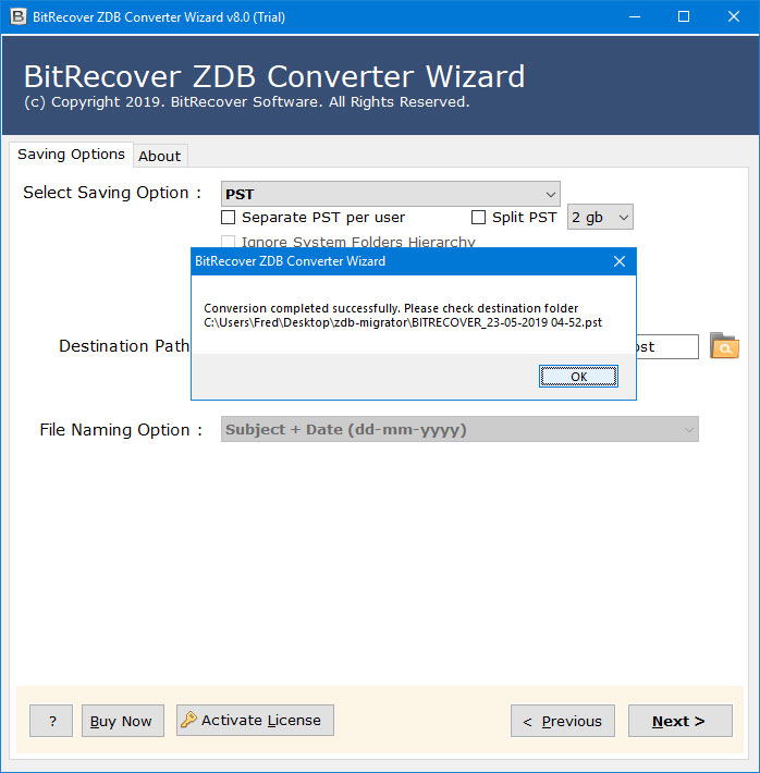 import zdb to outlook