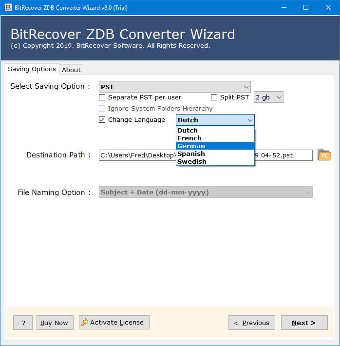 zdb to pst converter