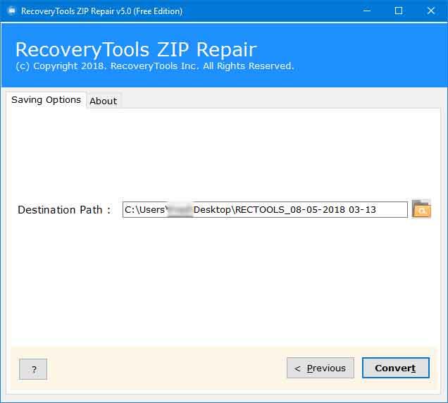 RecoveryTools Free Zip Repair Tool